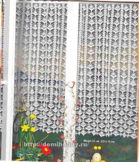 Free Crochet Pattern Flower Curtain : 17 Best images about H?keln Gardinen / crochet curtain on ...