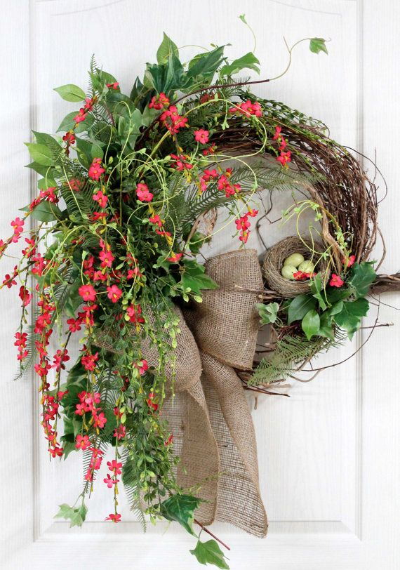 Primitive Country Hanging, Front Door Swag, Beautiful Wildflowers, Burlap Bow, Nest with Eggs, Great for Country Decor -- FREE SHIPPING