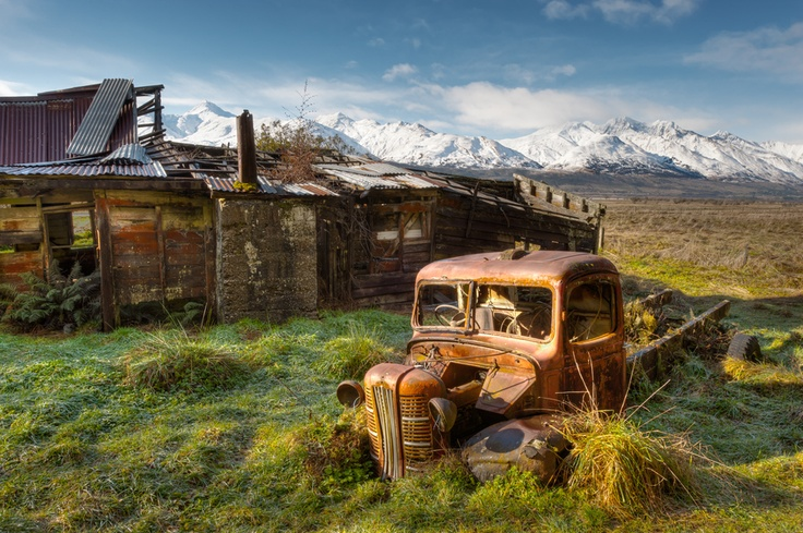 Forgotten homestead in New Zealand.  LOVE the truck!