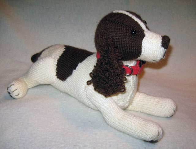 "English Springer Spaniel Rescue of America This knitted Clayton is the prize that will go to the winner of a raffle to raise funds for the medical care of the ""real Clayton"" in Texas. Buy tickets by March 12, 2014 via the link."