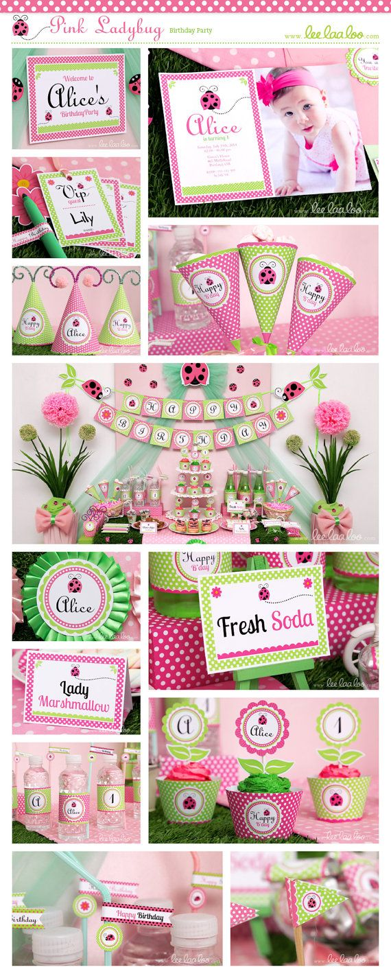 ♥ Pink Ladybug Birthday Party Theme ♥ Shop Here: https://www.etsy.com/shop/LeeLaaLoo/search?search_query=B114&order=date_desc&view_type=gallery&ref=shop_search  ✿  Party Styling: LeeLaaLoo - www.leelaaloo.com ✿ Party Print able Design & Decoration: LeeLaaLoo - www.etsy.com/shop/leelaaloo