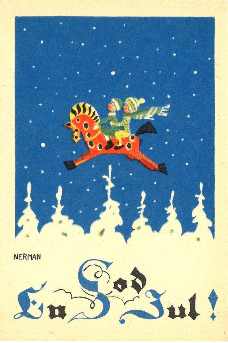 En God Jul / a merry Christmas / children flying on a Dala horse