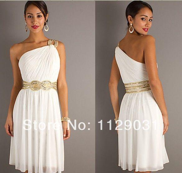 vestidos de moda un hombro 2014 cuentas corto griego vestido de noche vestidos blancos de fiesta barato a un línea por encargo en Vestidos de Noche de Moda y Complementos en AliExpress.com   Alibaba Group