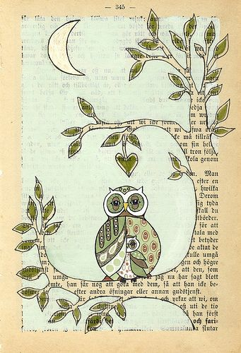 love the ideause old book page to draw paint some wall - Book Pages Art