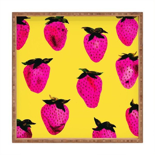 Georgiana Paraschiv strawberries yellow and pink Square Tray ($35) ❤ liked on Polyvore featuring home, bed & bath, bath, bath accessories, yellow bathroom accessories, pink tray, pink bath accessories, yellow tray and pink flamingo bathroom accessories