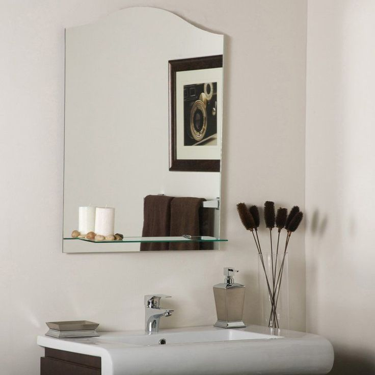 Photo Of D cor Wonderland Columbus Frameless Wall Mirror x in Add a dash of contemporary sophistication to your bathroom walls with the simple yet elegant