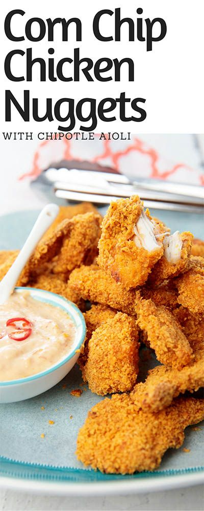 Corn Chip Crusted Chicken Nuggets & Chipotle Aioli - Are you ready to your chicken nuggets to the next level! These are the bomb! #chickennuggets #Thermomix #chicken #chickenrecipes #KFC via @thermokitchen