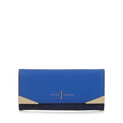 J by Jasper Conran Navy colour block and metal trim large purse   Debenhams