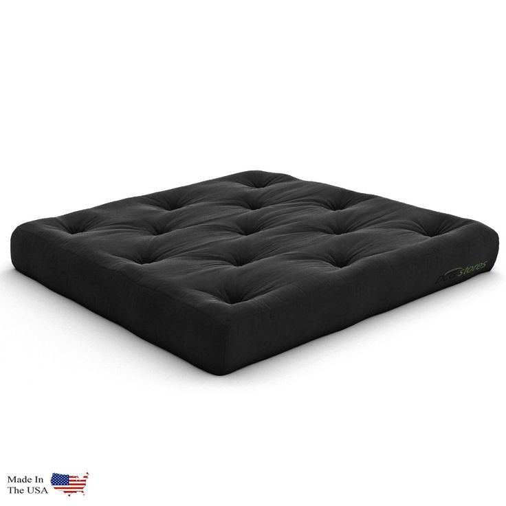 Extra Thick Premium 10-Inch Loveseat Futon Mattress, Black Twill - Made in USA