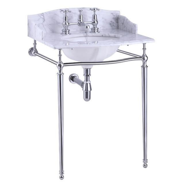 Carrera marble top & basin with basin stand (shown with back and side splash)