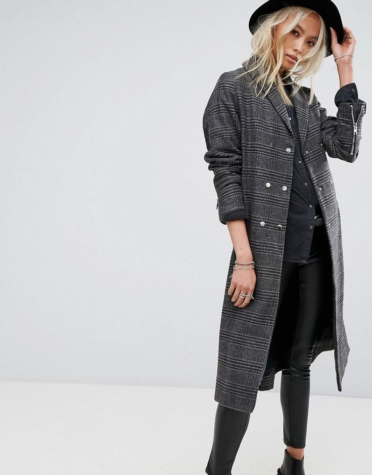 Religion Longline Trench Coat In Prince Of Wales Check - Multi