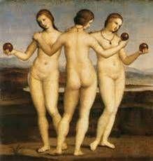 삼미신  산치오 라파엘로(Sanzio Raffaello)  삼미신, 15세기경  캔버스에 유채(Huile sur toile), 17.8 x 17.6 cm  콩데 미술관 소장      세명의 여신의 모습으로 여성의 젊음과 아름다움을 표현하고 있다.  위의 작품과는 다르게 여인과 사과로만 그 주제를 보이고 있다.  배경이 상대적으로 황량하여 젊음의 아름다움을 배가 시키고 있다.