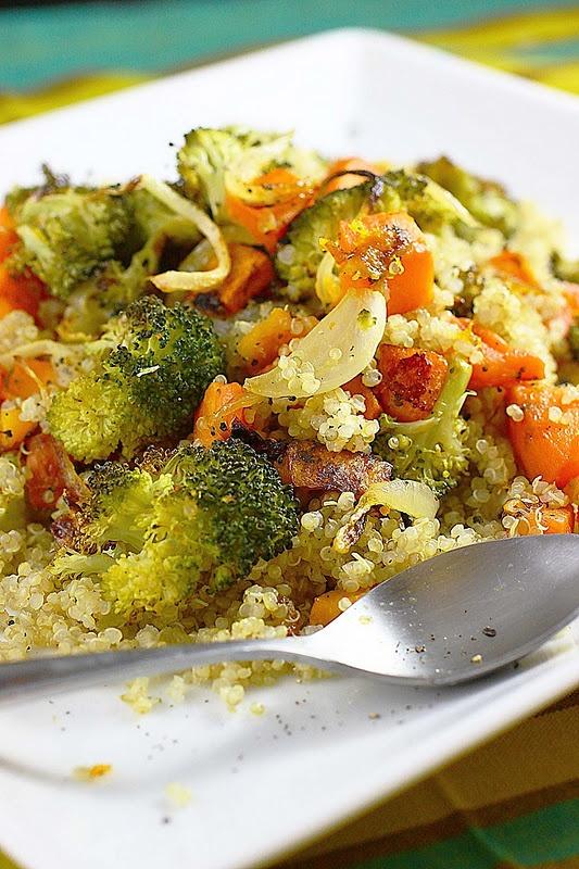 Easy & delicious roasted vegetable quinoa #recipe.  This was soooo good, less vegetable stock in quinoa.  Ate the veggies in pasta too....yum.
