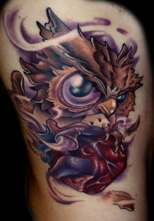 Kelly Doty - Owl Clutching A Heart tattoo tattoos tattoo ink Tätowierung