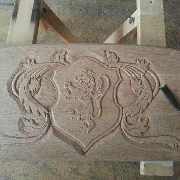 Family crest carved by hand.