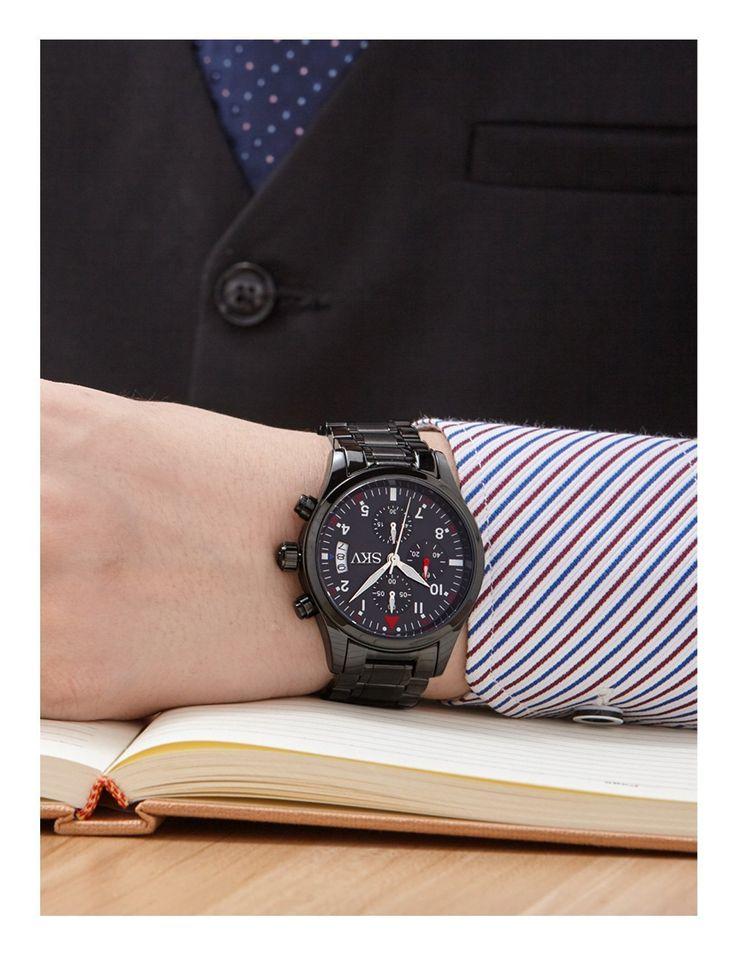 Sisistore Mens Chronograph Sports Quartz Wrist Watch with High Abrasion Proof Mirror Watch Black