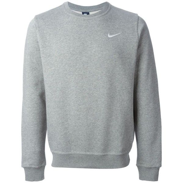Nike Club Crew Sweatshirt ($63) ❤ liked on Polyvore featuring tops, hoodies, sweatshirts, sweaters, grey, nike, nike sweatshirts, gray top, sweat shirts and crew sweatshirt