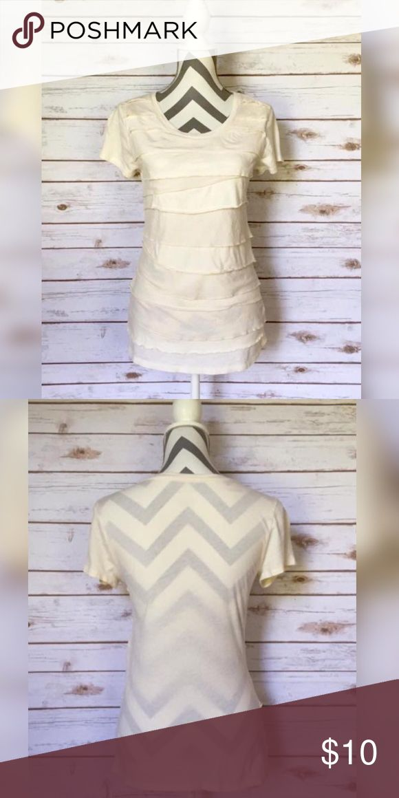 Beige Tee with ruffles-Small Merona beige tee with ruffles on the front. Very good condition. Sz Small Merona Tops Tees - Short Sleeve