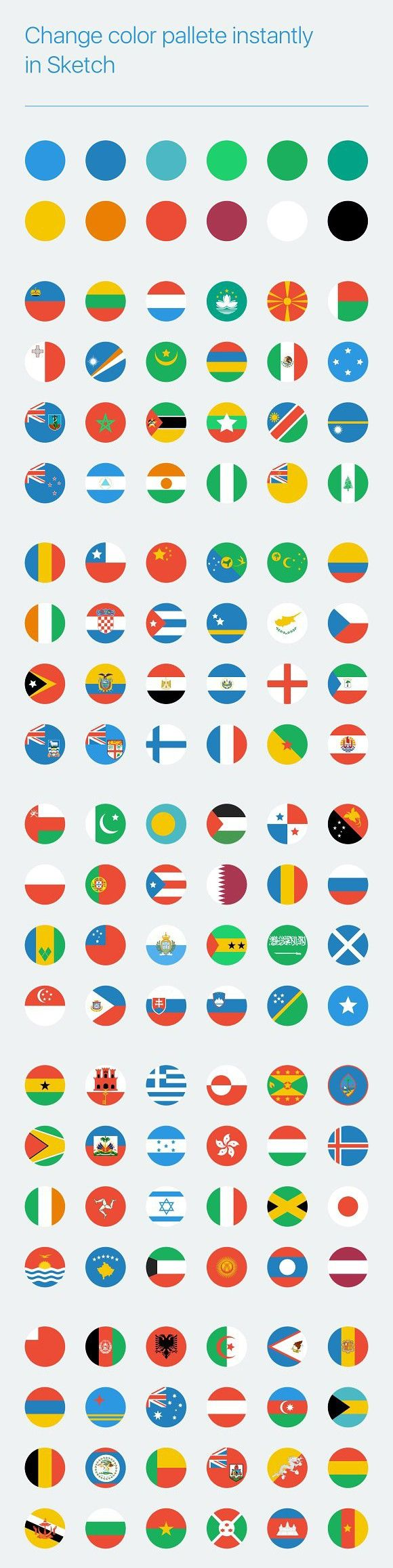 Flat circular world flag icons. Europe #world