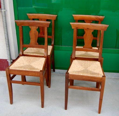 4 sedie in noce Piemonte metà '900 seduta in paglia