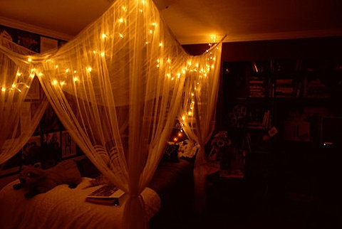 Romantic Four Poster Beds christmas lights in the bedroom | romantic night, romantic and lights