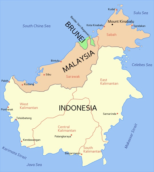 map of Brunei (green colour) A part of northen of Borneo Island. The island consists of a part of Malaysia, Indonesia and Brunei which is smallest. The capital is Bandar Seri Begawan.