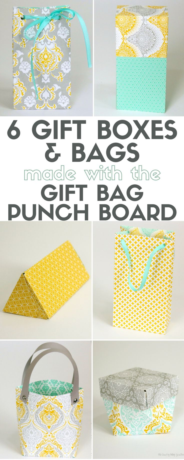 How to make 6 different Gift Boxes and Bags with the Gift Bag Punch Board. Personalize gift giving fun for birthdays, weddings, Christmas or just because!