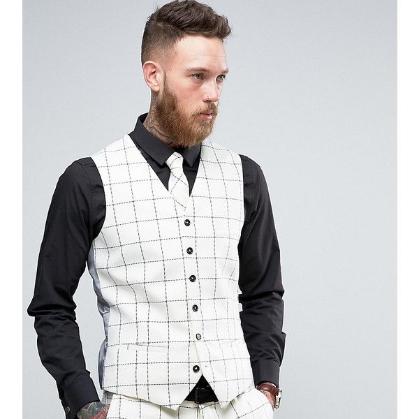 Heart & Dagger Skinny Waistcoat In Wool Tweed ($44) ❤ liked on Polyvore featuring men's fashion, men's clothing, men's outerwear, men's vests, white, mens white vest, mens wool vest, mens wool tweed vest, mens tweed vest and mens wool outerwear