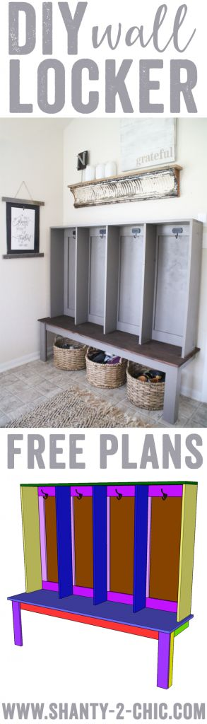 Build an easy DIY Wall Locker. This is the perfect piece for a mudroom or entryway! Great storage for bags, lunch boxes and plenty of room for shoe baskets! Free plans and how-to tutorial at www.shanty-2-chic.com