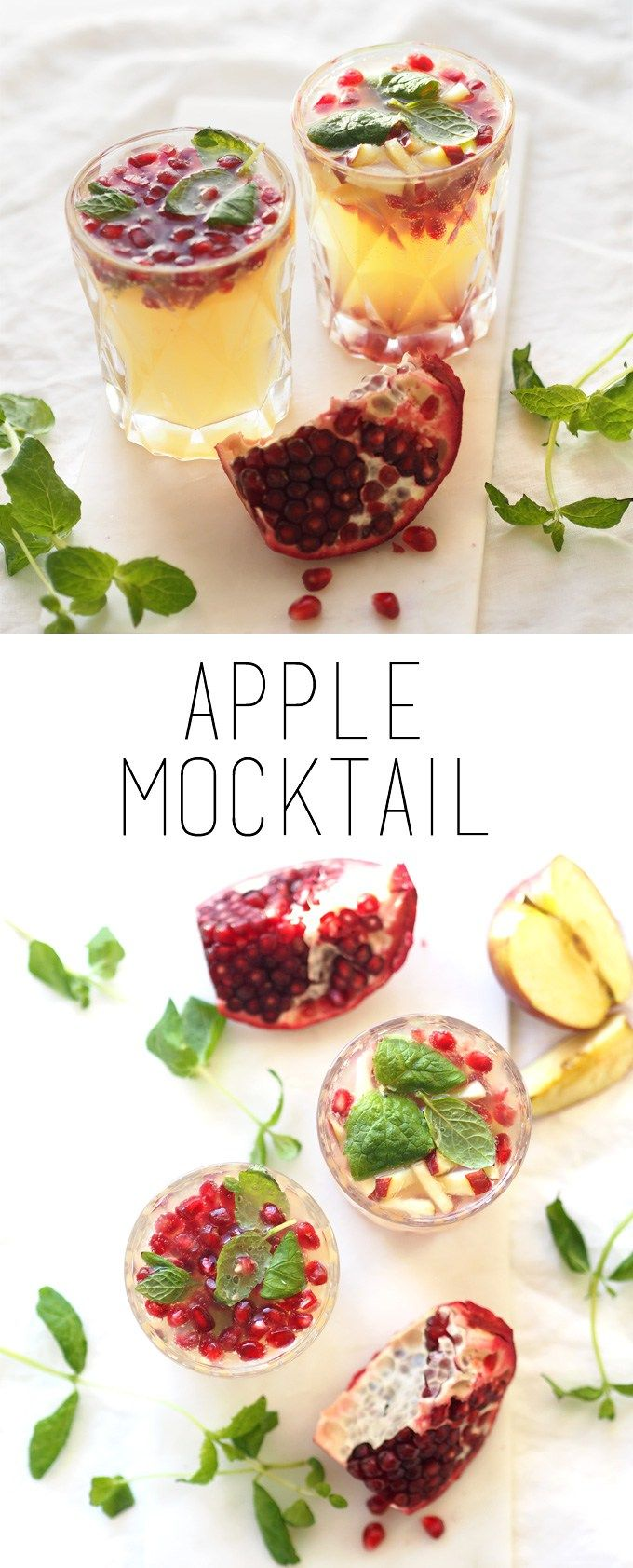 Kid-friendly mocktail with apple, pomegranate and mint - perfect for New Year's Eve