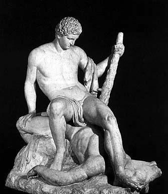 """""""Teseo sul Minotauro"""", Antonio Canova, 1781-1783; scultura in marmo, h 145,5 cm; realizzata su commissione dello Zulian, ambasciatore della Repubblica veneta, oggi si trova al Victoria and Albert Museum, Londra"""