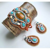Stunning ‪Soutache‬ ‪embroidery‬ ‪leather‬ set  of earrings and a bracelet! Hints of blue and sweet caramel! Semi-precious stones such as ‪Jasper‬ landscape beads, ‪Aventurine‬ sand, ‎tiger‬'s eye beads, ‪#‎citrine‬ chips, crystal beads, ‪Czech‬ glass beads, all are making a statement in this set!