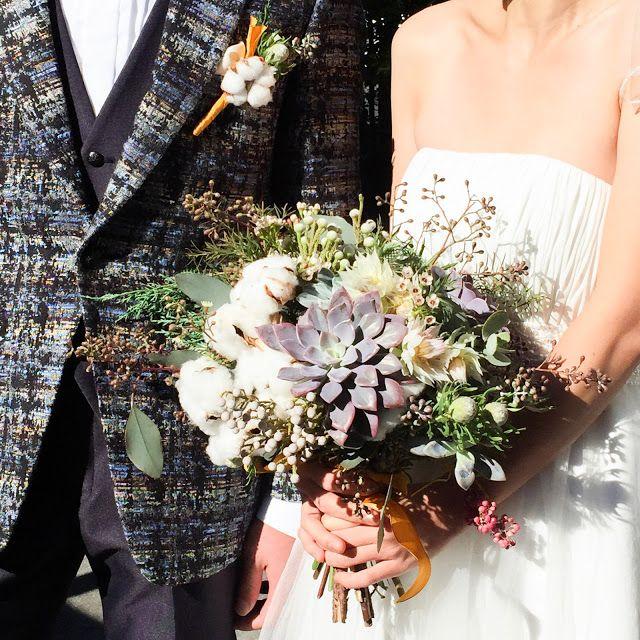 Succulent & cotton flower wedding bouquet 多肉植物とコットンフラワーのブーケ
