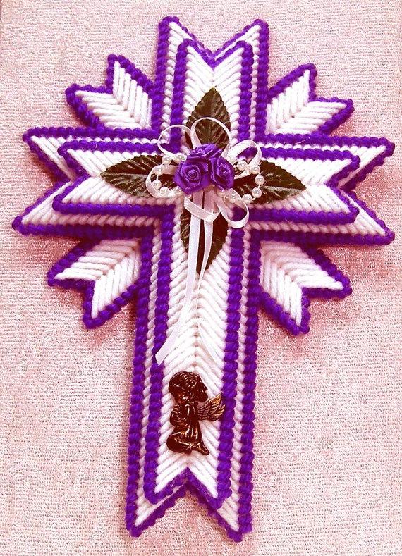 Cross Wallhanger Purple Plastic Canvas By Mawaggiescorner