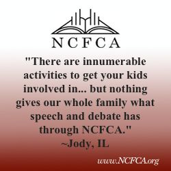 Communication is critical, no matter where God places you, and few homeschool opportunities offer as much return on investment as NCFCA speech and debate competition in regards to communication training.  www.NCFCA.org