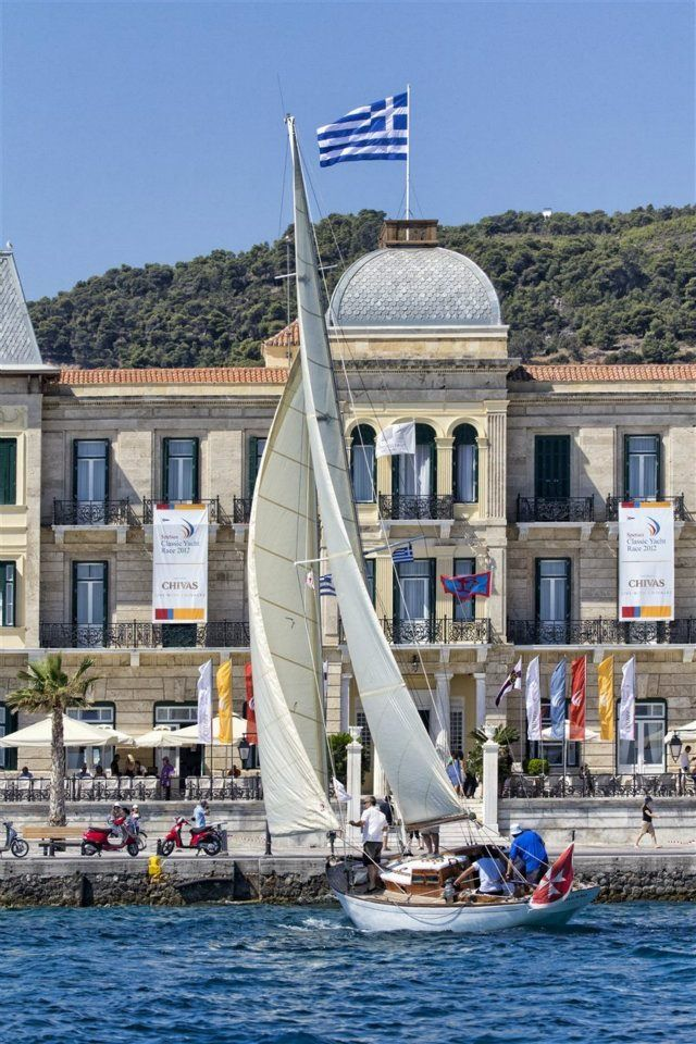 "Sailing at Spetses, in front of the majestic ""Poseidonion Grand Hotel"""