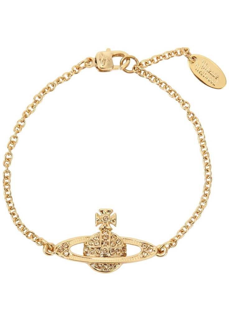 Vivienne Westwood gold tone bracelet Yellow Swarovski crystal-embellished orb Adjustable lobster clasp fastening Presented in a designer-stamped box