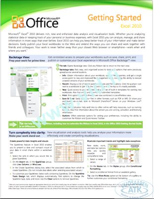 Microsoft Excel 2010 Getting Started Guide
