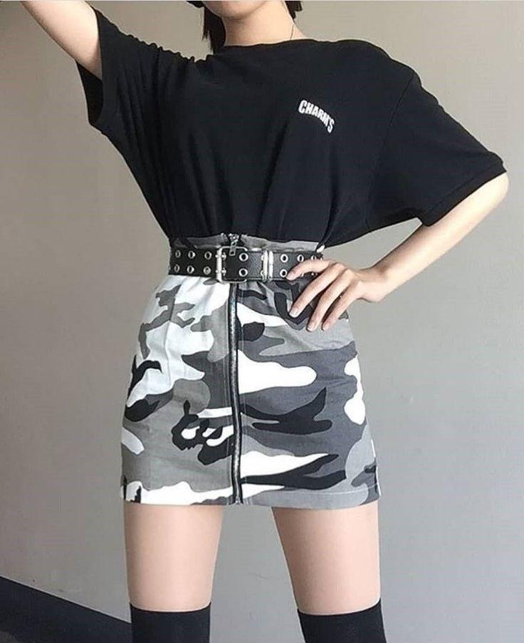 High Waist Camouflage Mini Skirt – #fashion #grunge #camouflage #skirts #miniskirts