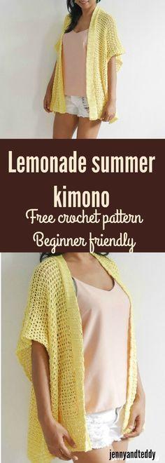 Limonada crochê kimono cardigan iniciante amigável feito de 2 retângulos por jen ...
