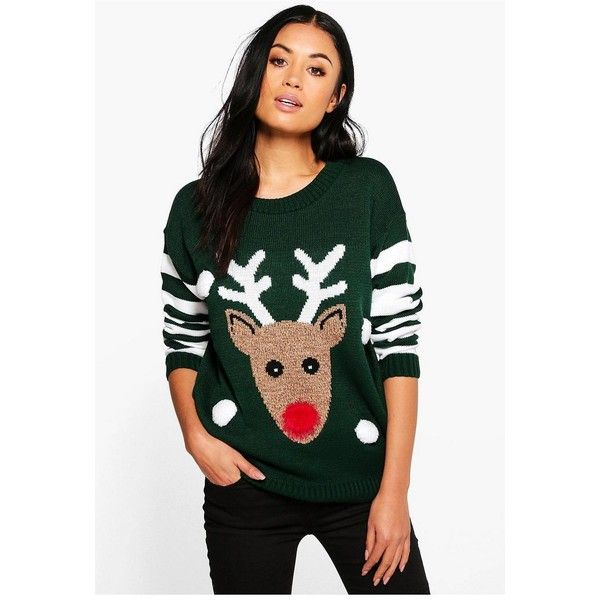 Boohoo Emma 3D Rudolph Christmas Jumper featuring polyvore women's fashion clothing tops sweaters knit sweater christmas jumpers xmas sweaters party jumpers wrap sweater