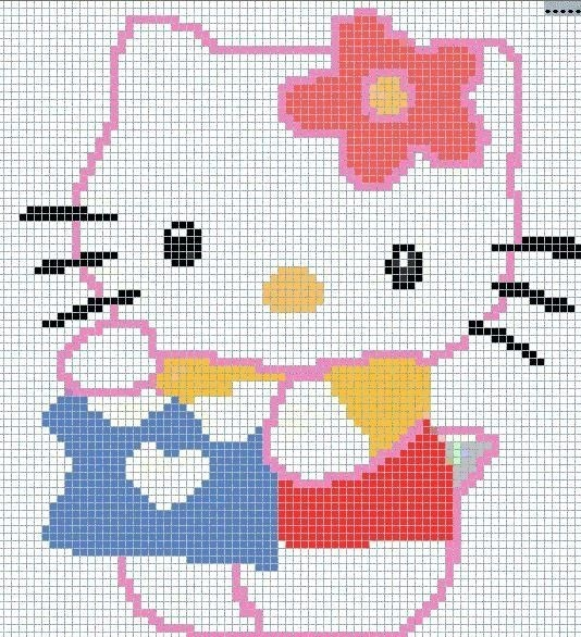 Hello Kitty hama perler beads pattern hello kitty Pinterest Stitches, C...