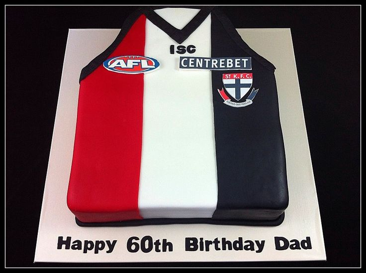 St Kilda AFL jumper - Chocolate mud cake decorated with fondant and edible images.