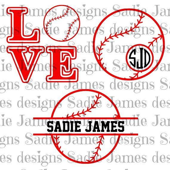 baseball softball monogram love SVG, cricut & silhouette cutting file.