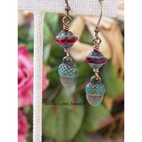 Rustic Tiny Acorn Charm Earrings