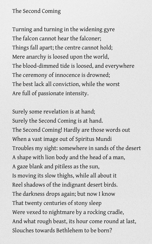 best the second coming poem ideas kindness poem the second coming william butler yeats prophetic poem describing
