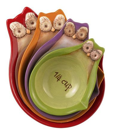 Look what I found on #zulily! Owl Stacking Measuring Cups Set Of 4 by Grasslands Road #zulilyfinds