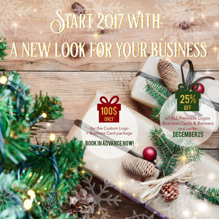 This December I have 2 gifts for you to launch or refresh your brand for the year 2017.  🎁The Custom Made Logo Design & Business Card Package for only $100.  🎁 25% OFF on anything else: banner, facebook cover, price tag, brochure, flyer,invitation, etc.