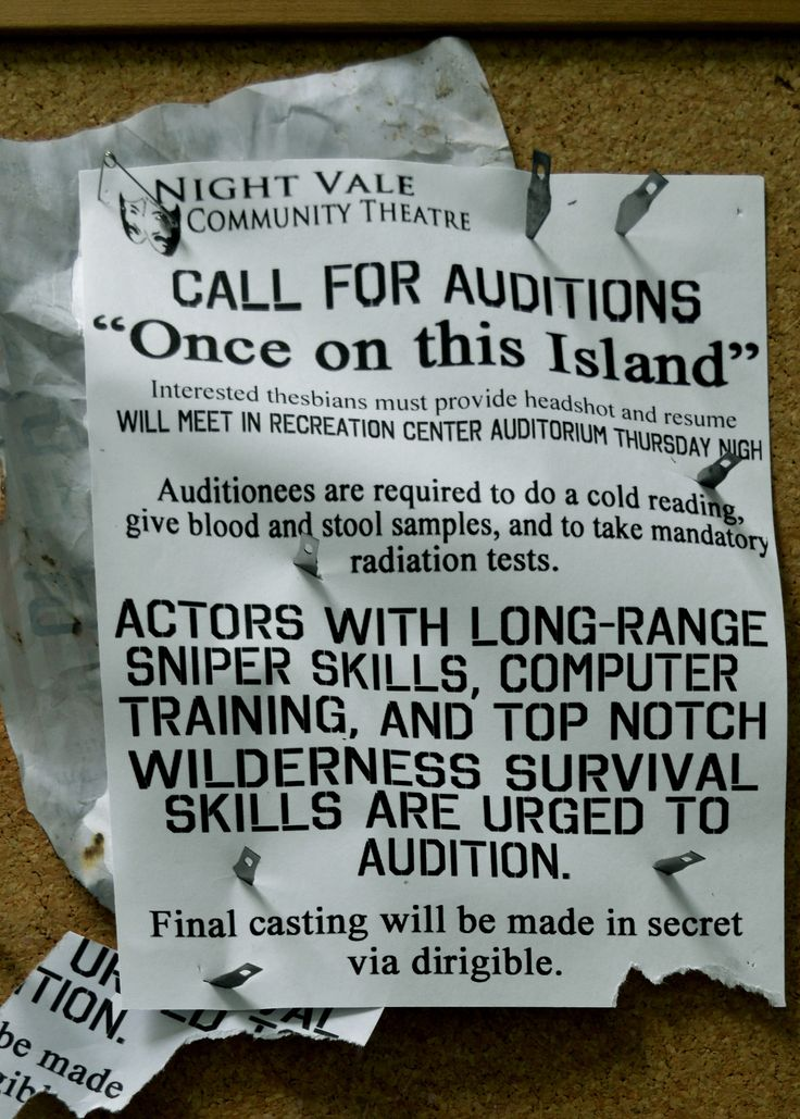 Night Vale Community Theatre: Call for Auditions.