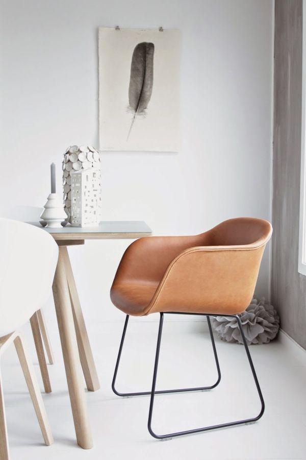 Muuto fiber chair cognac silk leather